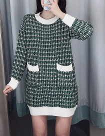 Fashion Green Plaid Pullover Sweater