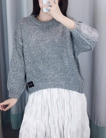 Fashion Light Grey Labeled Round Neck Pullover