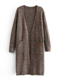 Fashion Brown Middle Pocket Knit Cardigan