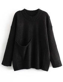 Fashion Black Big Pocket Pullover