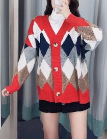 Fashion Red Diamond Lattice Button-down Cardigan