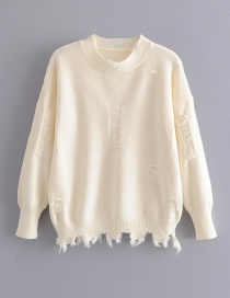 Fashion Creamy-white Shredded Pullover Sweater