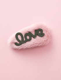 Fashion Pink Love Letter Plush Hairpin