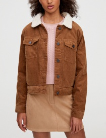 Fashion Caramel Colour Lamb Hair Short Corduroy