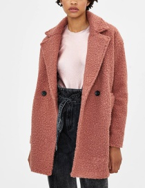 Fashion Leather Pink Medium Wool Coat