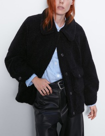 Fashion Black Fur Effect Jacket