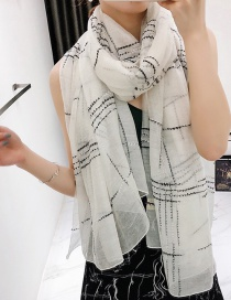 White Large Plaid Silk And Wool-blend Scarf Shawl