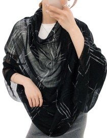 Black Large Plaid Silk And Wool-blend Scarf Shawl