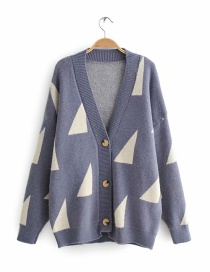 Blue Printed Sweater Cardigan