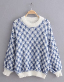 Blue Knitted Embroidered Mohair Pullover