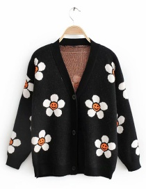 Black Sun Flower Cardigan Sweater