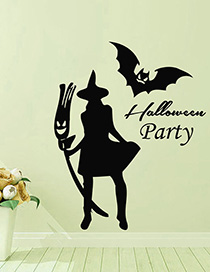 Fashion Multicolor Kst-39 Halloween Witch Bat Environmentally Removable Wall Sticker