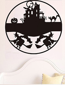Fashion Multicolor Kst-45 Halloween Witch Castle Cat Bat Wall Sticker