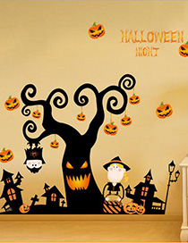 Fashion Color Sk9095 Halloween Cartoon Pumpkin Light Removable Wall Sticker