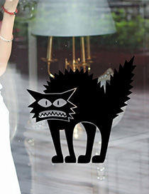 Fashion Multicolor Kst-25 Halloween Thriller Cat Wall Stickers