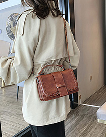 Fashion Brown Rivet Shoulder Bag Diagonal Cross Package
