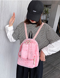Fashion Pink Rabbit Ear Plush Backpack