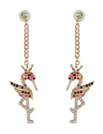 Fashion Color Animal Flamingo Earrings