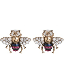 Fashion Gold Pearl Bee Earrings