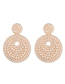 Fashion Gold Disc Pearl Stud Earrings