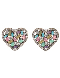 Fashion Light Color Diamond Stud Earrings Heart Shape