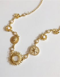 Fashion Necklace Gold Eight Mans Star Lucky Compass Gold Coin Necklace