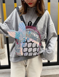 Fashion Red Laser Mermaid Sequin Backpack