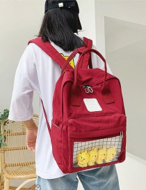 Fashion Red Cartoon Little Yellow Duck Transparent Backpack