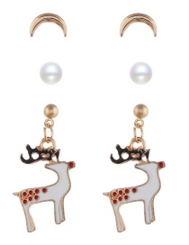 Fashion Golden Elk Alloy Drop Oil Cartoon Snowman Bell Christmas Earring Set