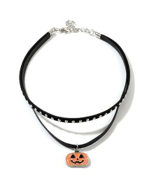 Fashion Black Pumpkin Leather Rope Double Necklace