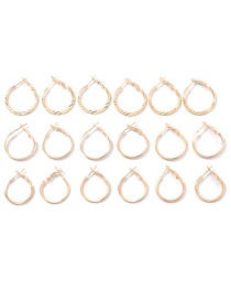 Fashion Gold Metal Circle Earrings Set
