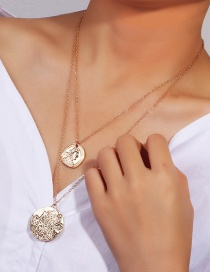 Fashion Gold Round Portrait Double-layer Necklace