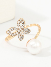 Fashion Gold Butterfly And Diamond Ring