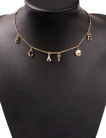Fashion Gold Alloy Diamond Alphabet Necklace