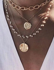 Fashion Gold Alloy Embossed Coin Multi-layer Necklace