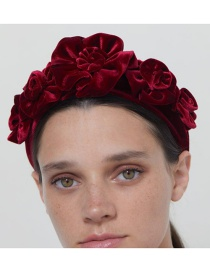 Fashion Red Gold Velvet Three Rose Headband
