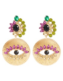 Fashion Gold Alloy Diamond Eye Studs