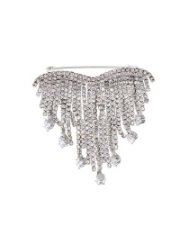 Fashion Silver Full Diamond Love Brooch