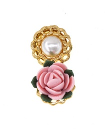 Fashion Gold Ceramic Flower Pearl Brooch