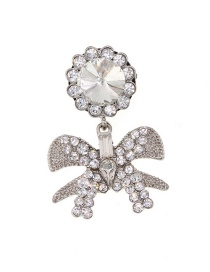 Fashion White Diamond Bow Brooch