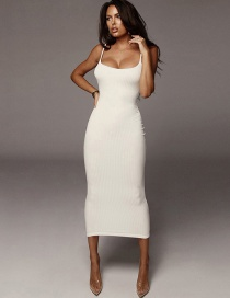 Fashion White Contrast Sling Backless Dress