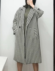 Fashion Black And White Houndstooth Long Coat