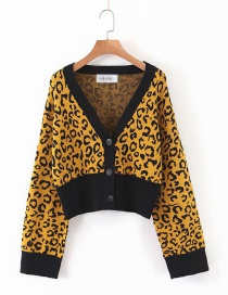 Fashion Yellow Lantern Sleeve Leopard Knit V-neck Single-breasted Cardigan