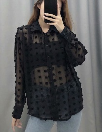 Fashion Black Embroidered Polka Dot Flashing Collar Shirt