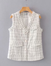 Fashion White Rough Plaid Edging Vest