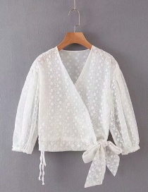 Fashion White Flower Print V-neck Lace-up Shirt