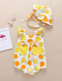 Fashion Lemon Yellow Fruit Print Love Patch Pocket Baby Triangle Lace