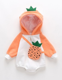 Fashion Orange Thickened Fruit Three-dimensional Printed Diagonal Hooded Jumpsuit
