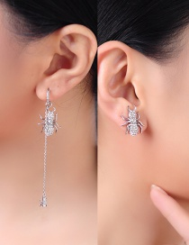 Fashion Silver Spider-studded 925 Sterling Silver Asymmetric Earrings