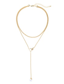 Fashion Gold Double Pearl Necklace